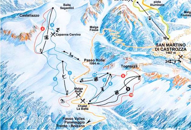 Карта трасс Пассо Ролле